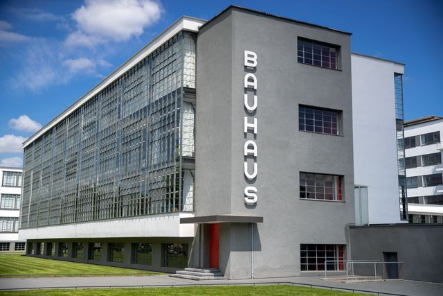 10 july 2019, saxony anhalt, dessau roßlau the bauhaus ensemble in dessau roßlau can be seen in bright sunshine and blue skies in 2019, together with partners all over the world, germany celebrates the 100th anniversary of the bauhaus photo jens büttnerdpa zentralbildzb photo by jens büttnerpicture alliance via getty images