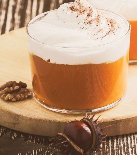 Dessert of pumpkin mousse with whipped cream