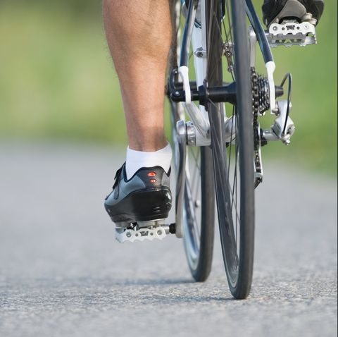 detail of a cyclist pedaling