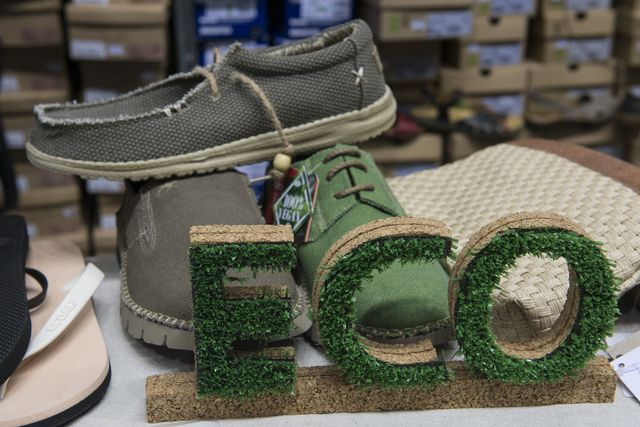 detail of shoes made with vegetable fibers during the vegan