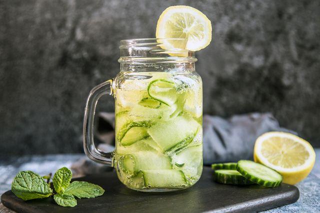 detox water, cucumber water, lemon, mint in a glass
