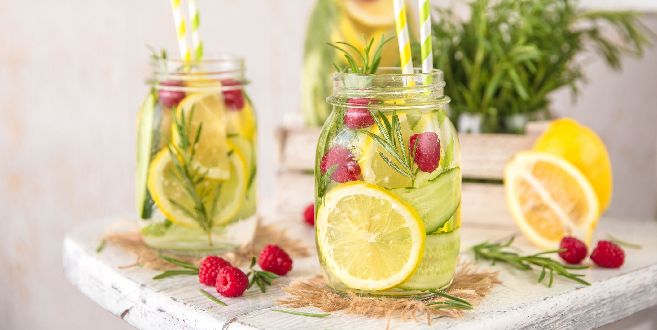 Detox Water with lemon, cucumber, raspberry and rosemary