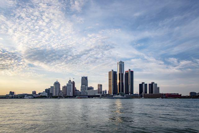 detroit's skyline   daytime   across the detroit river