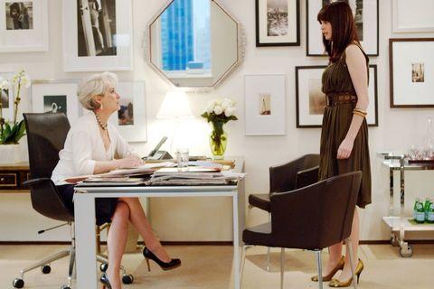 Furniture, Room, Desk, Interior design, Table, Dress, Office, Chair, Fashion design, Building,