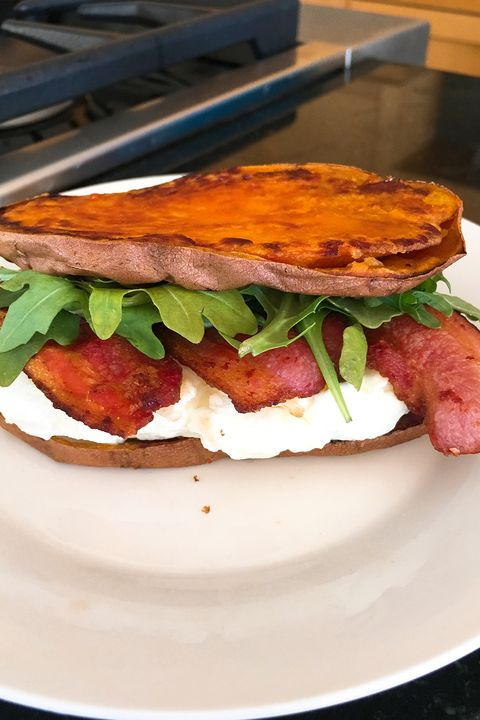 Sweet potato, bacon, and egg breakfast sandwich