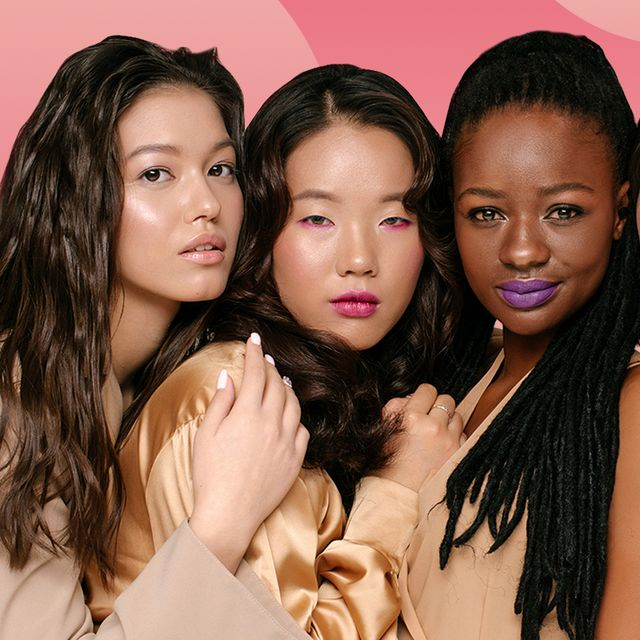 group of girls with dewy skin and bright makeup