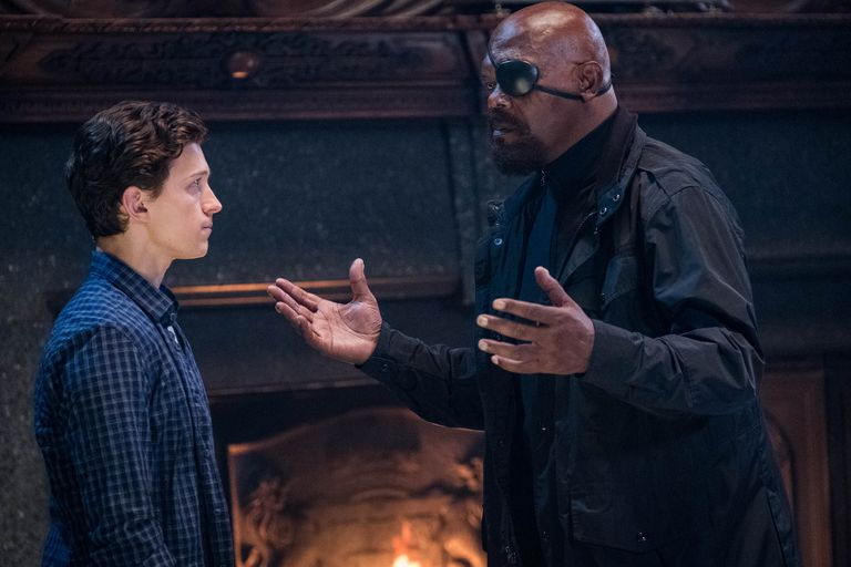 Tom Holland's Peter Parker and Samuel L. Jackson's Nick Fury in Spider-Man: Far From Home .