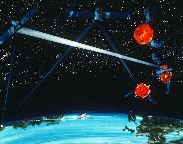 an artist's concept of a groundspace based hybrid laser weapon