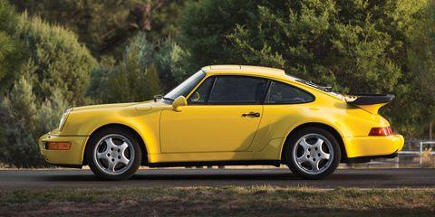 Land vehicle, Vehicle, Car, Yellow, Regularity rally, Sports car, Porsche 911 classic, Coupé, Porsche 930, Ruf ctr2,