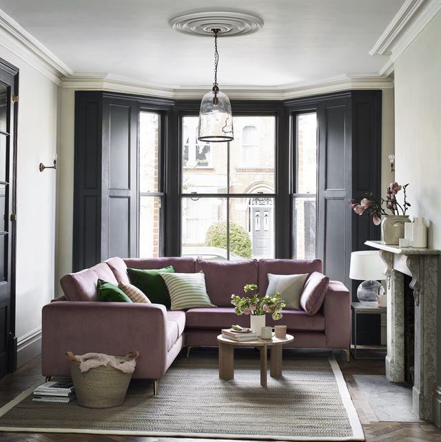 dfs darcy velvet sofa, mauve, pink