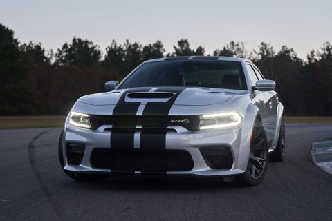 2021 dodge charger srt hellcat redeye the most powerful and fastest mass produced sedan in the world with 797 horsepower shown here in triple nickel with dual carbon stripes