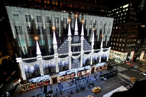 new york, new york   november 23 a view of the saks fifth avenue holiday window unveiling 2020 on november 23, 2020 in new york city photo by dia dipasupilgetty images for saks fifth avenue