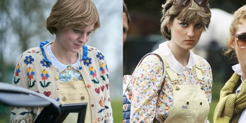 photos princess diana s outfits recreated by the crown s emma corrin marie claire