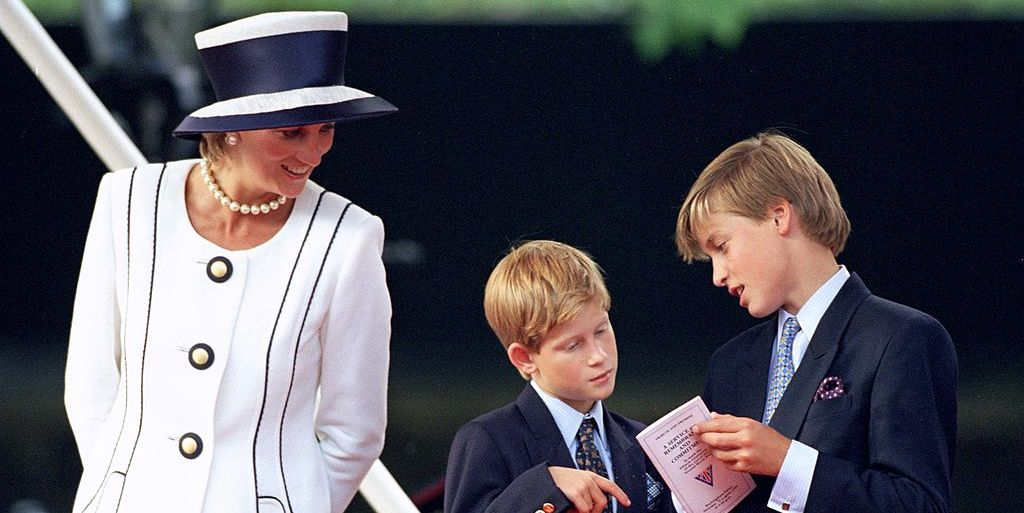 Princess Diana with Prince Harry and William