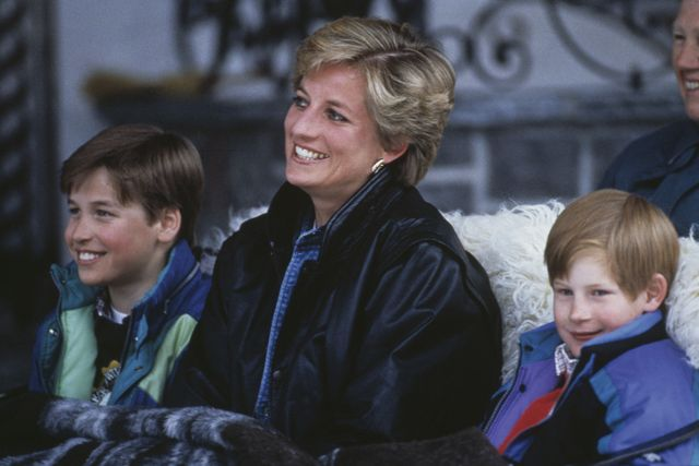 princess diana 1961   1997 with her sons prince william left and prince harry on a skiing holiday in lech, austria, 30th march 1993 photo by jayne fincherprincess diana archivegetty images