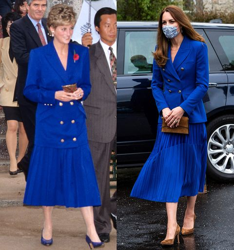 diana and kate middleton wearing similar pleated blue skirt and boxy blazer