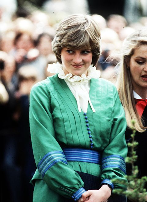 romsey, england, may 09, diana wearing a green dress with a pie crust frill collar, during a visit to broadlands, the former home of earl mountbatten