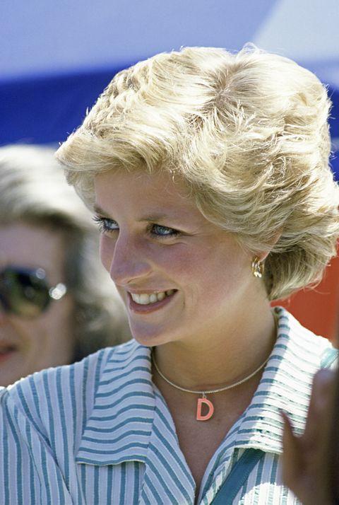 黛安娜王妃帶著字母項鍊