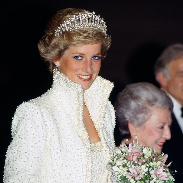 Diana, Princess of Wales wears an outfit described as the 'E
