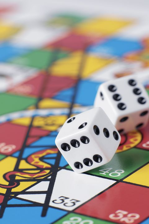 virtual happy hour ideas - Dice falling onto snakes and ladders board