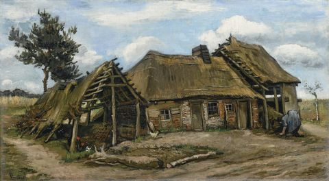 Thatching, Hut, Shack, Watercolor paint, Painting, Roof, House, Rural area, Croft, Building,