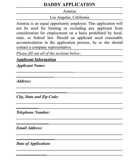 this application form is the perfect way to screen potential boyfriends