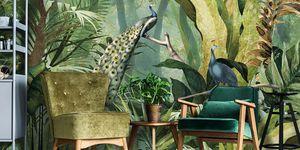 dierenbehang, aapjes, vogels, dierenprint, behang, wallpaper, interior design, trend, 2018