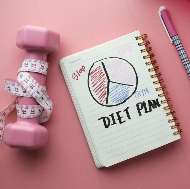 diet plan, menu or program, tape measure, water, dumbbells and diet food