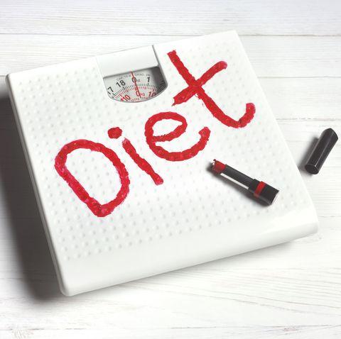 diet written in frustration on bathroom scales