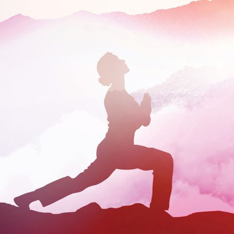 woman doing yoga pose with pink background