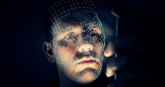 digital composite image of man against black background