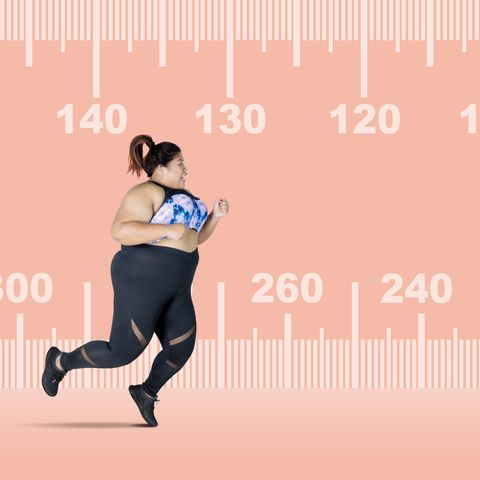 Digital Composite Image Of Woman Running Against Scale