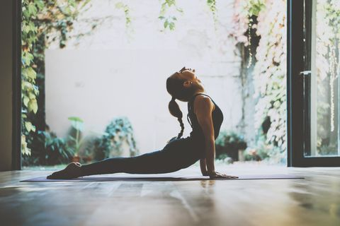 Water, Physical fitness, Yoga, Beauty, Shoulder, Tree, Morning, Sunlight, Joint, Sportswear,