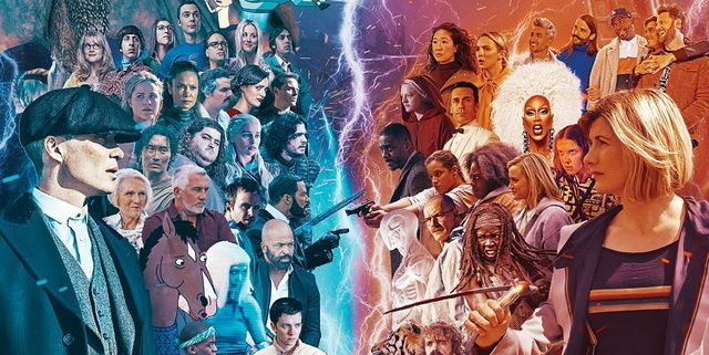 digital spy apple news edition, issue 1 cover detail with tv characters representing readers' top 100 tv shows of the 21st century