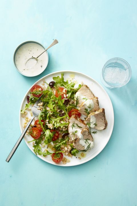 hearty salad recipes  dill crusted pork and farro salad
