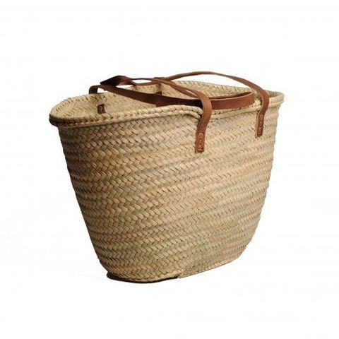 dille en kamille boodschappentas van palmblad met lang lederen hengsel