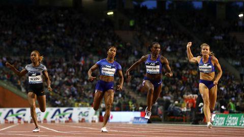 Carrera de velocidad de atletismo en la Diamond League de Bruselas