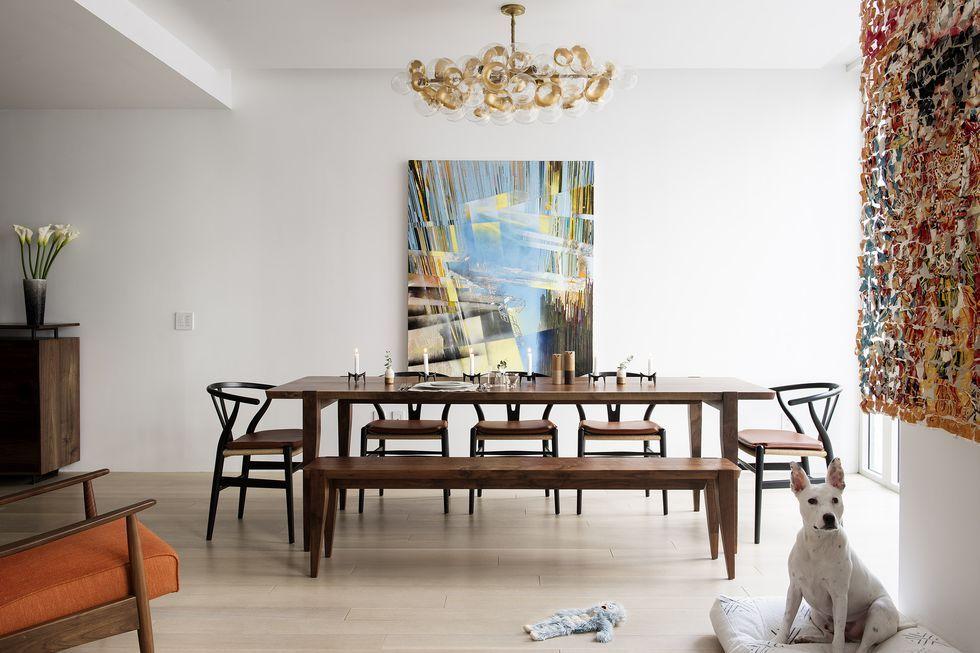 Lighting dining room table Wood Image Elle Decor 26 Best Dining Room Light Fixtures Chandelier Pendant Lighting