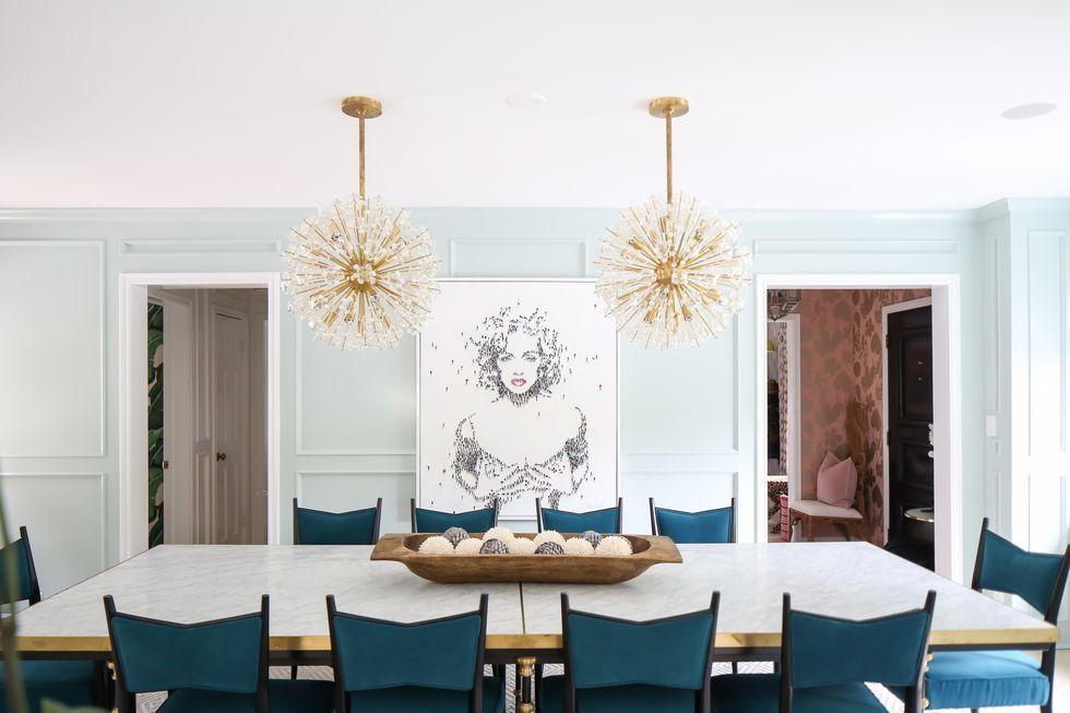 Lighting dining room table Drum Dining Room Lighting Ideas Elle Decor 26 Best Dining Room Light Fixtures Chandelier Pendant Lighting