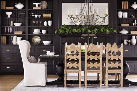 Furniture, Room, Black, Dining room, Interior design, Table, Hutch, Shelf, Chest of drawers, Living room,