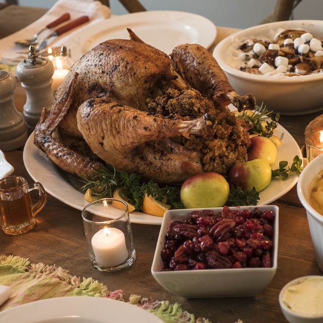 dining table filled with thanksgiving food
