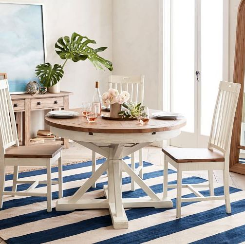 pottery barn hart round reclaimed wood pedestal extending dining table