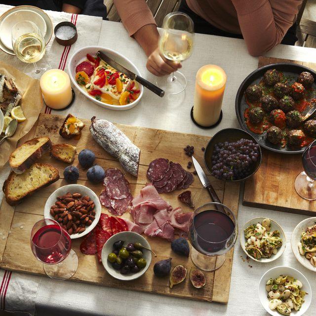 italian antipasto on linen covered table