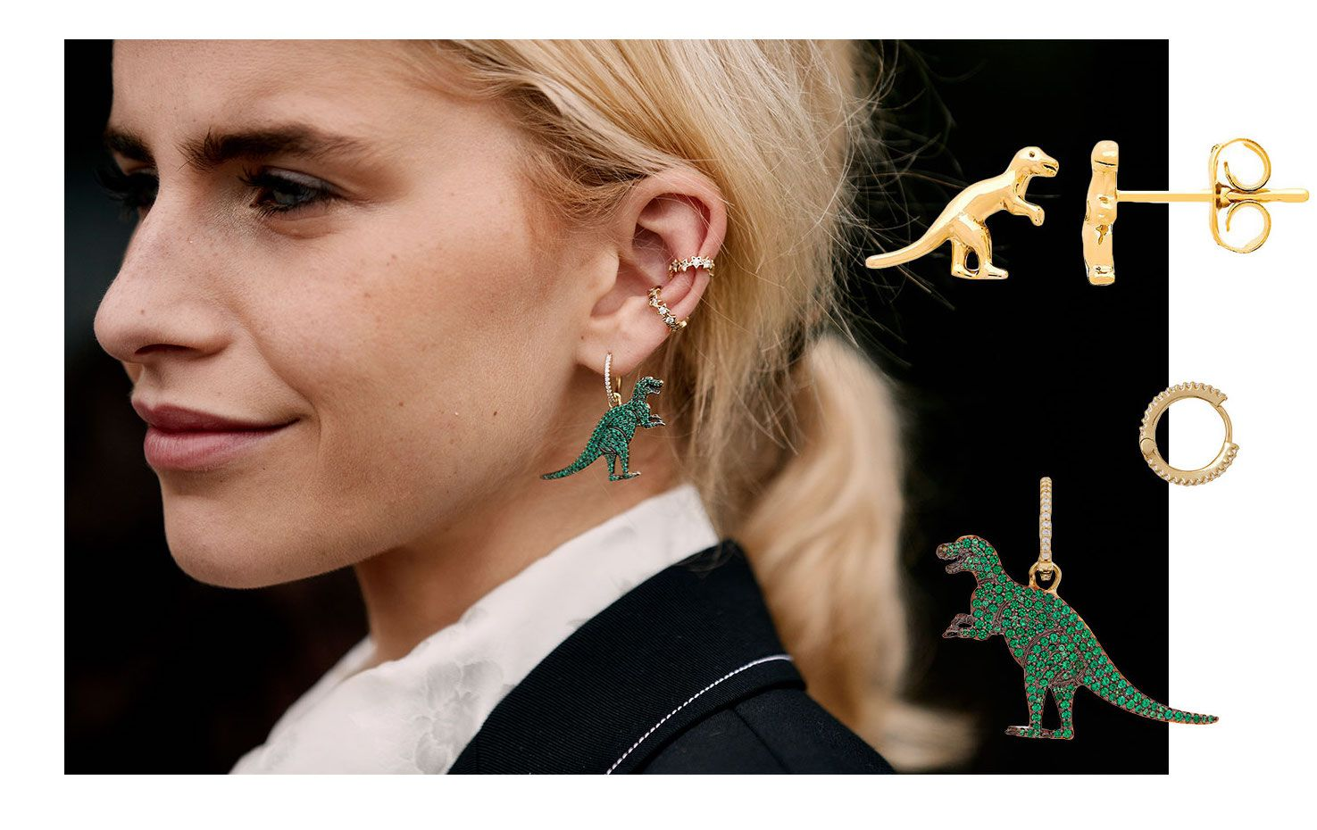 Street style dinosaur - t-rex earrings