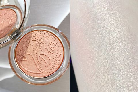 Beauty, Peach, Cosmetics, Skin, Eye, Pink, Eye shadow, Powder, Material property, Metal,