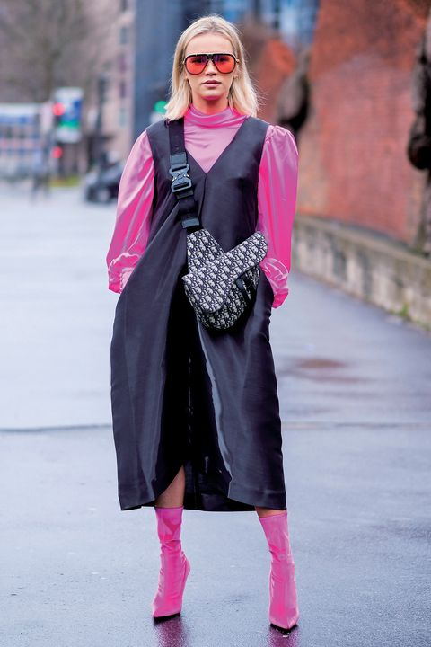 Eyewear, Glasses, Sleeve, Sunglasses, Textile, Magenta, Outerwear, Pink, Style, Street fashion,