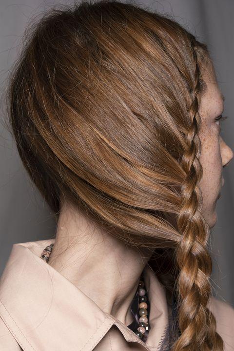 Hair, Hairstyle, Chin, Long hair, Hair coloring, Blond, Brown hair, Neck, French braid, Layered hair,
