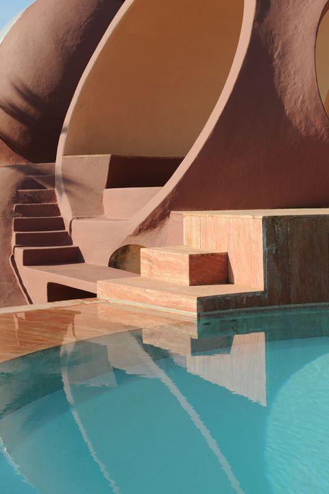 Swimming pool, Aqua, Stairs, Design, Reflection,