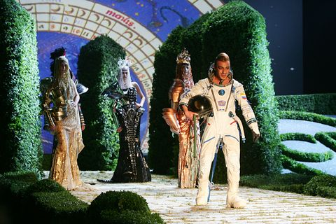british designer john galliano on the catwalk in an astronauts suit at the dior fallwinter 2006 2007 haute couture collection presented during paris fashion week photo by stephane cardinalecorbis via getty images