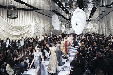 Fashion, Event, Crowd, Design, Fashion design, Textile, Dress, Haute couture, Fashion show, Style,